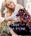 KEEP CALM AND LOVE EMMA STONE - Personalised Poster large