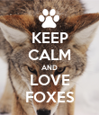 KEEP CALM AND LOVE FOXES - Personalised Poster large