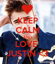 KEEP CALM AND LOVE  JUSTİN <3 - Personalised Poster large
