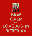 KEEP CALM AND LOVE JUSTIN BIEBER XX - Personalised Poster large