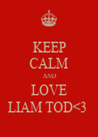 KEEP CALM AND LOVE LIAM TOD<3  - Personalised Poster large
