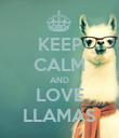 KEEP CALM AND LOVE LLAMAS - Personalised Poster large