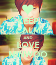 KEEP CALM AND LOVE MINWOO - Personalised Poster large