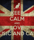 KEEP CALM AND LOVE MUSIC AND CATS - Personalised Poster large