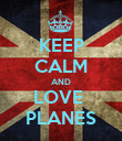 KEEP CALM AND LOVE  PLANES - Personalised Poster large