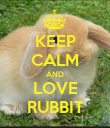 KEEP CALM AND LOVE RUBBIT - Personalised Poster large