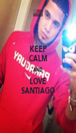 KEEP CALM AND LOVE SANTIAGO - Personalised Poster large