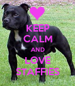 KEEP CALM AND LOVE STAFFIES - Personalised Poster large