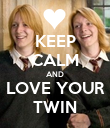 KEEP CALM AND LOVE YOUR TWIN - Personalised Poster large