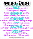 KEEP CALM AND  LOVE ZOE - Personalised Poster large