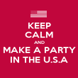 KEEP CALM AND MAKE A PARTY IN THE U.S.A - Personalised Poster large