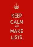 KEEP CALM AND MAKE LISTS - Personalised Poster large
