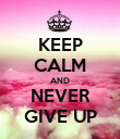 KEEP CALM AND NEVER GIVE UP - Personalised Large Wall Decal