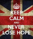 KEEP CALM AND NEVER  LOSE HOPE - Personalised Poster large
