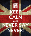 KEEP CALM AND NEVER SAY NEVER! - Personalised Poster large