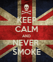 KEEP CALM AND NEVER  SMOKE - Personalised Poster large