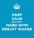 KEEP CALM AND PARTY HARD WITH DEEJAY WAKEE - Personalised Poster small