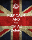 KEEP CALM AND Press Ctrl Alt Delete - Personalised Poster large