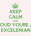 KEEP CALM AND PROUD YOURE AN EXCELENIAN - Personalised Poster large