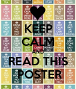 KEEP CALM AND READ THIS  POSTER - Personalised Poster large