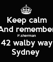 Keep calm And remember P.sherman 42 walby way Sydney  - Personalised Poster large