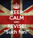 """KEEP CALM AND REVISE! """"Such fun!"""" - Personalised Poster large"""