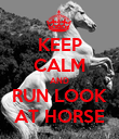 KEEP CALM AND RUN LOOK AT HORSE - Personalised Poster large