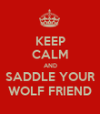 KEEP CALM AND SADDLE YOUR WOLF FRIEND - Personalised Poster large