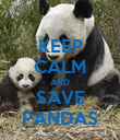 KEEP CALM AND SAVE PANDAS - Personalised Poster large