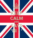 KEEP CALM AND SAYS 'HI ! ' - Personalised Poster large