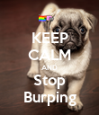 KEEP CALM AND Stop Burping - Personalised Poster large