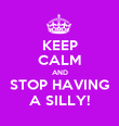 KEEP CALM AND STOP HAVING A SILLY! - Personalised Poster large