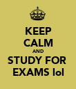 KEEP CALM AND STUDY FOR  EXAMS lol - Personalised Poster large