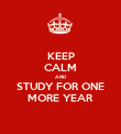 KEEP CALM AND STUDY FOR ONE MORE YEAR - Personalised Poster large