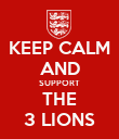 KEEP CALM AND SUPPORT THE 3 LIONS - Personalised Poster large