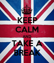 KEEP CALM AND TAKE A BREAK - Personalised Poster large