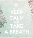 KEEP CALM AND TAKE A BREATH - Personalised Poster large