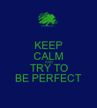 KEEP CALM AND TRY TO BE PERFECT - Personalised Poster large