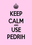 KEEP CALM AND USE PEDRIH - Personalised Poster large