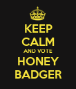 KEEP CALM AND VOTE HONEY BADGER - Personalised Poster large