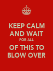 KEEP CALM AND WAIT FOR ALL OF THIS TO BLOW OVER - Personalised Poster large
