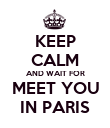 KEEP CALM AND WAIT FOR MEET YOU IN PARIS - Personalised Poster large