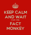KEEP CALM AND WAIT FOR THE  FACT MONKEY - Personalised Poster large