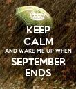 KEEP CALM AND WAKE ME UP WHEN SEPTEMBER ENDS - Personalised Poster large