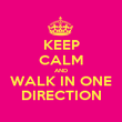 KEEP CALM AND WALK IN ONE DIRECTION - Personalised Poster large