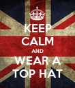 KEEP CALM AND WEAR A TOP HAT - Personalised Poster large