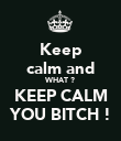 Keep calm and WHAT ? KEEP CALM YOU BITCH ! - Personalised Poster large
