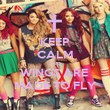 KEEP CALM AND WINGS ARE  MADE TO FLY - Personalised Poster large