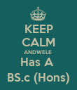 KEEP CALM ANDWELE  Has A  BS.c (Hons) - Personalised Poster large