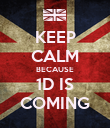 KEEP CALM BECAUSE 1D IS COMING - Personalised Poster large